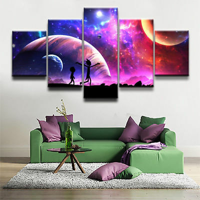 Home Decor Rick and Morty Cartoon Canvas Prints Painting Wall Art Poster 5PCS