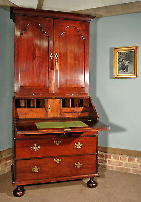 Rare George I Red Walnut and Oak Bureau Bookcase c. 1715