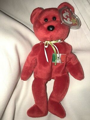 Ty Original Beanie Baby Osito Mexican Bear 1999 PE Red