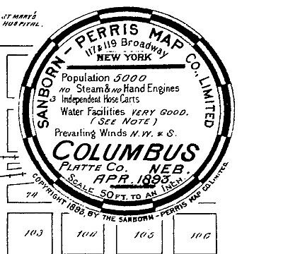 Columbus, Nebraska~Sanborn Map© sheets~1893 with 6 maps on a CD