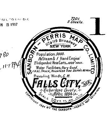 Falls City, Nebraska~Sanborn Map© sheets~1894 with 5 maps on a CD