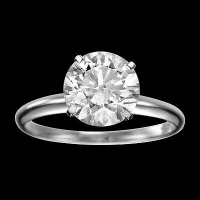 1/3 CT Solitaire Enhanced Diamond Engagement Ring Round Cut D/SI 14K White Gold