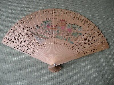 Intricate All Wood Hand Held Fan Asian Floral/Palace Design Vintage (read desc)