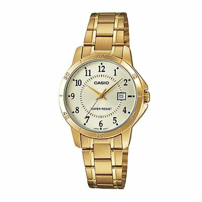 NEW Casio LTP-V004G-9B Women's Stainless Steel Watch Date Display GOLD-tone