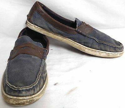 118745ce62dd Cole Haan Nantucket Navy Canvas Brown Leather Boat Shoes Loafers Mens Size  10 M