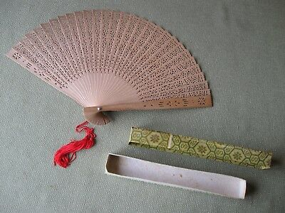 Vintage All Wood Japanese Hand Held FAN w/Box/Glass Top