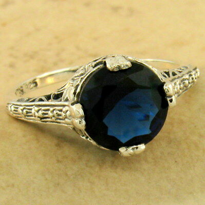 Engagement Wedding Art Deco 925 Silver 2 Ct Sim Sapphire Ring Size 9,      #1162