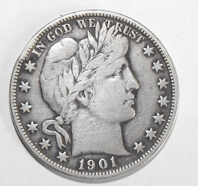 1901 Barber Half Dollar, Circulated and ungraded