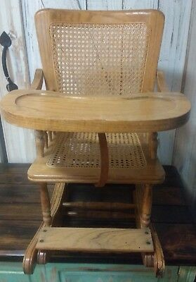 Edwardian Era Antique Oak & Cane Child's High Chair~Rocker