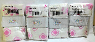 Bacati Elephants Muslin 3 Piece Set of Wash Cloths, Pink/Grey (Pack Of 4)