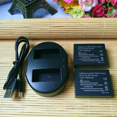 2 NP-W126 NP-W126S Battery or Dual Charger for Fujifilm X-T20 X-T10 X-E2S X100F