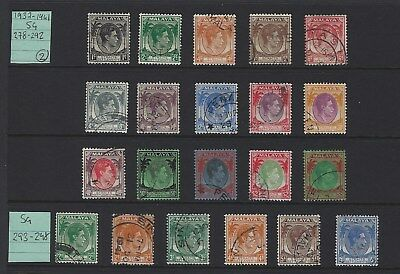 Straits Settlements SG 278-298 1937-41 Full Used Set of 21