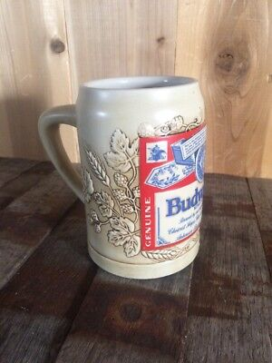 """1995 Tradition & Quality Budweiser Label Stein Traditional .5 L 5.5"""" Hops Barley"""