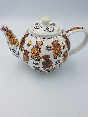"""Paul Cardew Two-Cup Classic """"ted-Tea"""" Porcelain Teapot Teddies' Picnic Day Vgc"""