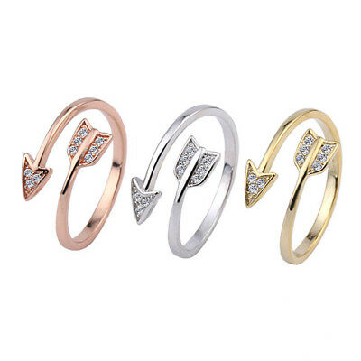 UK SILVER ROSE GOLD PLT CRYSTAL ARROW ADJUSTABLE RING Fashion Jewellery Gift