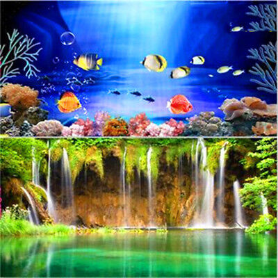 New Double Sided Fish Tank Aquarium Background Color Fish / Waterfal