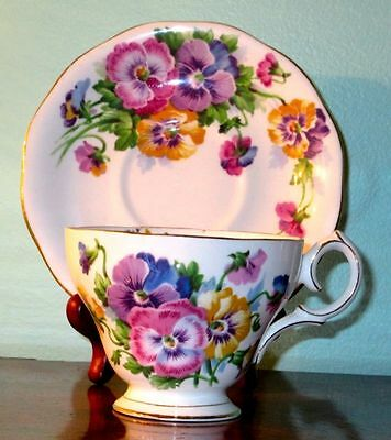 """Queen Ann """"Spring Melody"""" Gorgeous Pansies Vintage Fine Bone China Cup & Saucer"""