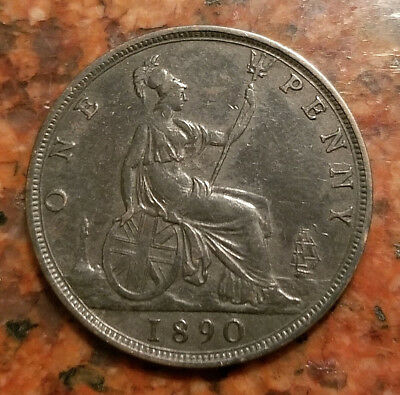 1890 Great Britain One Penny Coin - High Detail - #4332
