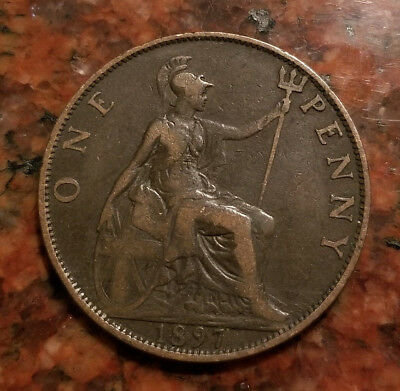 1897 Great Britain One Penny Coin - Nice Detail - #4338