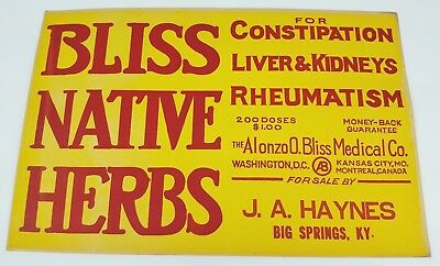 Bliss Native Herbs Quack Cure Antique Advertising Store Sign 1900 Big Springs KY