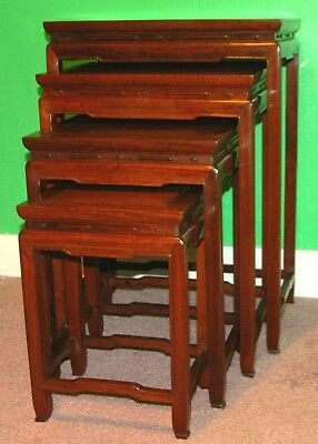 Antique CHINESE NESTING TABLES Rosewood Mahogany Set of 4 Stacking End Tables