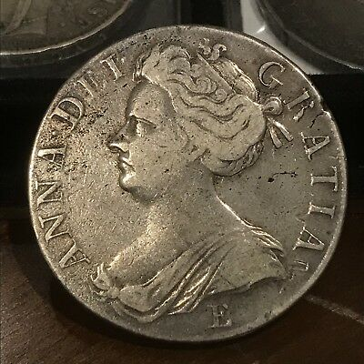 1707-E Great Britain Crown - Queen Anne - Toned VF XF Silver England Wales