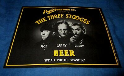 THE THREE STOOGES BEER-PANTHER BREWING CO-VINTAGE 1990s ERA SMALL SIGN POSTER