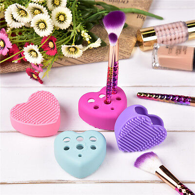 Heart Shape Silicone Makeup Brush Cleaner Washing Scrubber Cleaning Pad Mat Tool