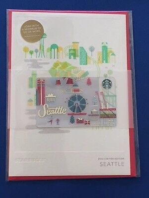 Starbucks Card 2016 SEATTLE Christmas Holiday Greeting Limited w/$0 bal NEW MINT