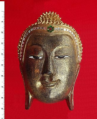 Thai Buddha Face Image - Wood/Gold     Carved Wooden Sculpture