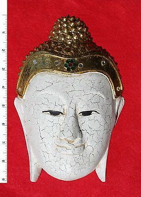 Thai Buddha Face Image - White     Carved Wooden Sculpture     BH010