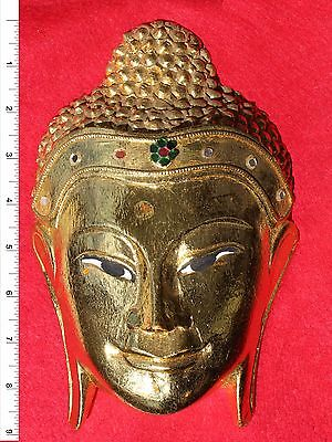 Thai Buddha Face Image - Gold Leaf     Carved Wooden Sculpture     BH012