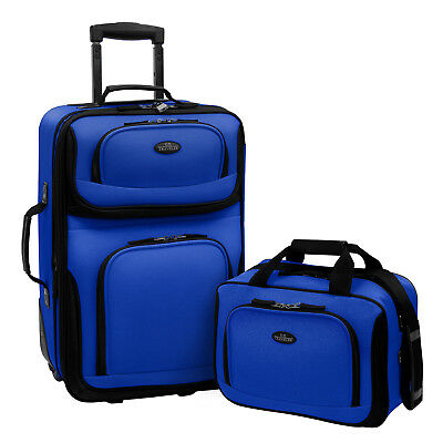 Carry On Luggage Sale Set Airplane Travel Bag 2 Piece With Wheels Portable Blue