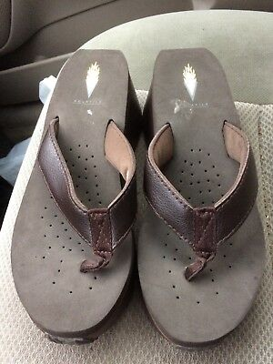 a71ef9444fa803 Women s used Volatile Frappachino brown leather wedge sandals flip flops  size 8
