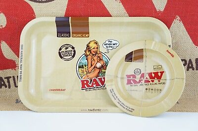 "2 Items AUTHENTIC Raw Rolling Paper Tray 7"" x 11"" And Round Magnetic Tray 5.5"""