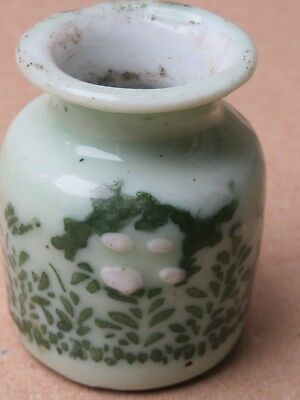 ANTIQUE CHINESE GREEN & WHITE INK POT INKWELL Porcelain Qing dynasty HAND COLOR