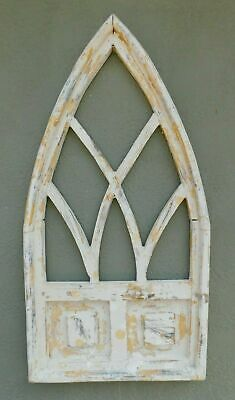 """Wooden Antique Style Church WINDOW Frame Primitive Wood Gothic 32"""" Shabby"""