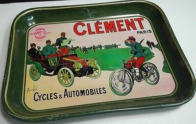 vintage Clement Paris Cycles & Automobiles advertising green tin tray military