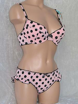 03b9b718c6 32C PEACH   Black Spot Bra   Size 10 Knickers Set Floozie Ladies Lingerie  Bnwt - EUR 34