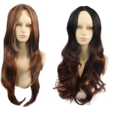 Women Long Synthetic Hair Full Wig Natural Curly Wavy Ombre Brown Cosplay Wigs