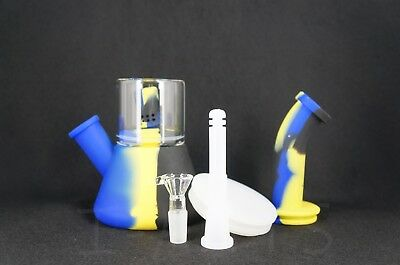 High Quality Silicone Cylinder Hookah Smoke Water Pipe Bong Bubbler 9""