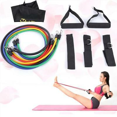 11 Pcs Rubber Latex Fitness Resistance Bands Gym Yoga Elastic Training Tools Set