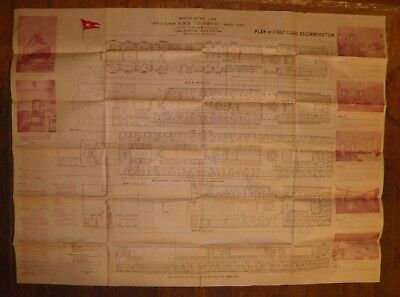 1921  RMS  Olympic White  Star Line  First Class Plan of Accommodation  Titanic