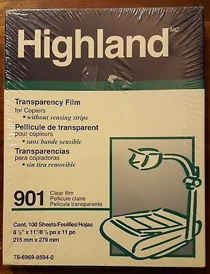 Highland TRANSPARENCY FILM for Copiers, #901 Clear, 100 Sheets 8.5x11 NEW