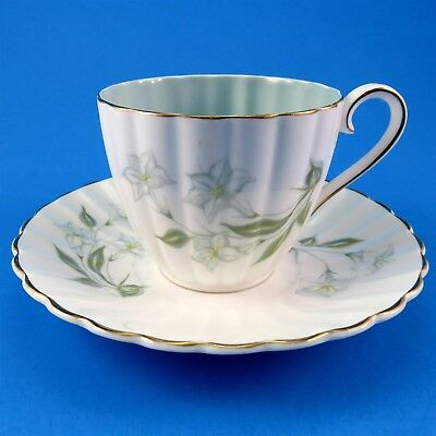 Delicate Light Blue and White Florals Susie Cooper Tea Cup and Saucer Set