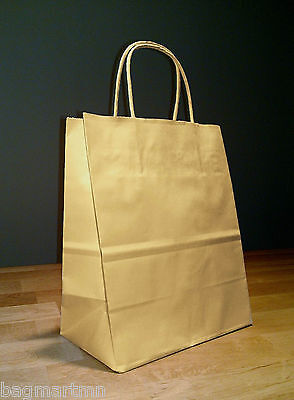 8 x 4.75 x 10.5 Kraft Brown Paper Cub Shopping Gift Bags with Rope Handles