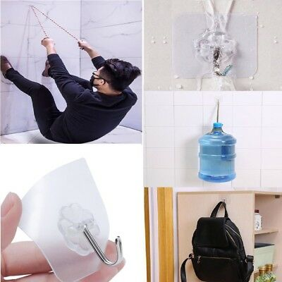 6 Pcs Self Adhesive Wall Strong Sticky Hooks Heavy Duty Nail Free Transparent