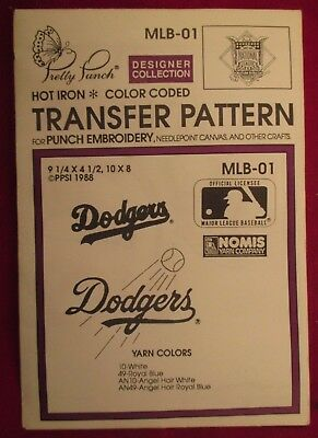 DODGERS BASEBALL Pretty Punch Embroidery Transfer Patterns