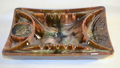 Vintage Canadian Pottery Beauceware Green Glaze Ashtray Drink, Pipe Holder 1345