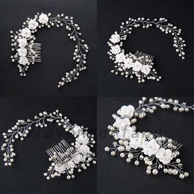 Flower Garland Pearl Headband Wedding Bride Hair Accessories HeadPiece Party AU